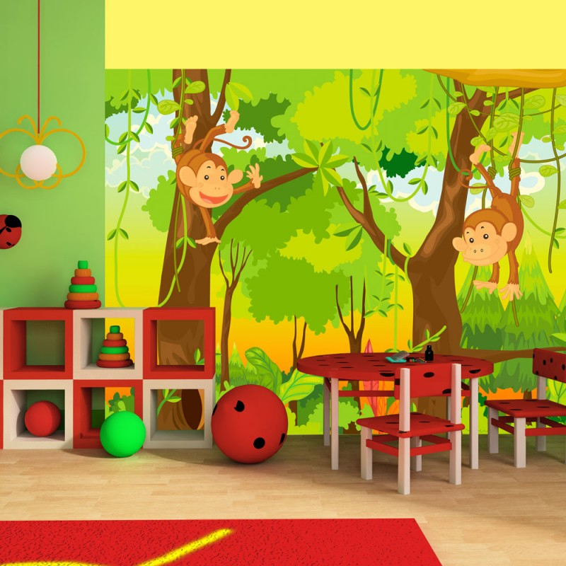 Chambre Jungle Fly : Cheap papier peint pour chambre duenfant jungle et singes