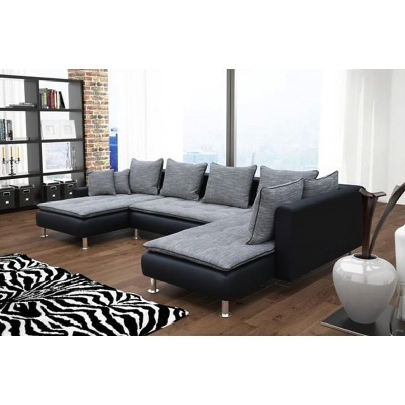 Canap d 39 angle 6 places dante gris et noir avec deux for Canape d angle deux places