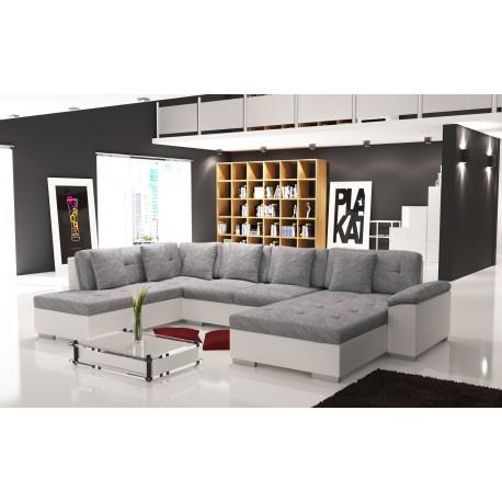 Canapé d'angle panoramique SMILE tissu et simili cuir gris et noir ultra moderne