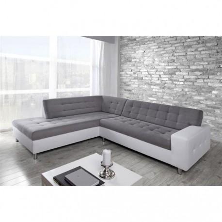 Canapé d'angle JAVA gris et blanc ou noir. Assise matelassée boutonnée surpiqure