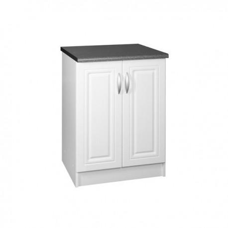 Meuble de cuisine bas 2 portes 60 cm DINA mélaminé avec 1 étagère