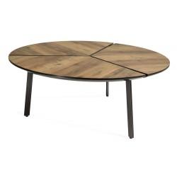Table basse KLARA1 en noyer style industriel