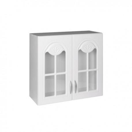 Meuble de cuisine haut 2 portes vitrines 80 cm DINA mélaminé avec 1 étagère