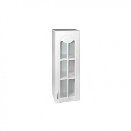 Meuble de cuisine haut 1 porte vitrine 40 cm DINA en mélaminé avec 2 étagères