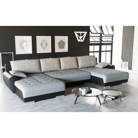 canap d 39 angle convertible teren panoramique gris clair et. Black Bedroom Furniture Sets. Home Design Ideas