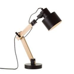 Lampe de bureau FLEXO en bois et métal noir