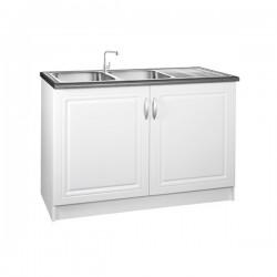 Meuble de cuisine sous-évier 2 portes 120 cm DINA en mélaminé avec 1 étagère