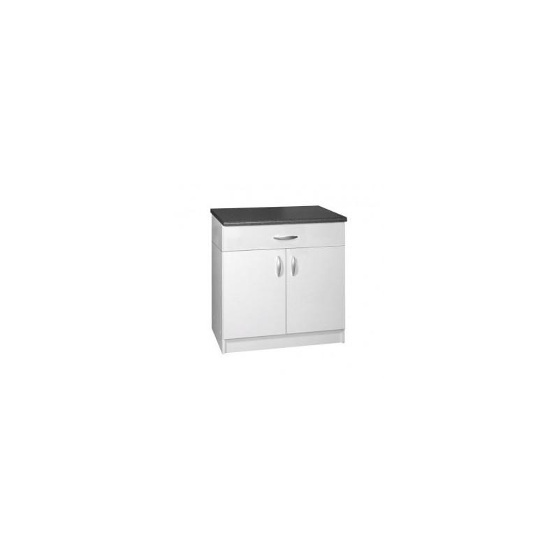 meuble de cuisine bas 2 portes 1 tiroir 80 cm oxane laqu brillant avec 1 tag re et 1 tiroir. Black Bedroom Furniture Sets. Home Design Ideas