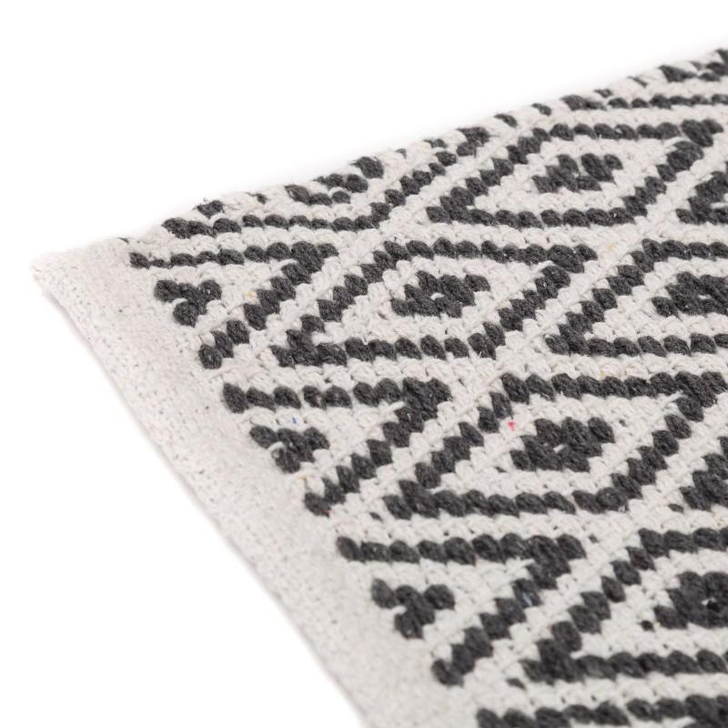 Tapis motifs ethniques en coton gris et blanc 80 x 50 cm Tapis gris et blanc