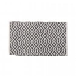 Tapis motifs ethniques en coton gris et blanc 80 x 50 cm