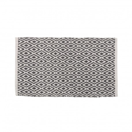 tapis motifs ethniques en coton gris et blanc 80 x 50 cm. Black Bedroom Furniture Sets. Home Design Ideas