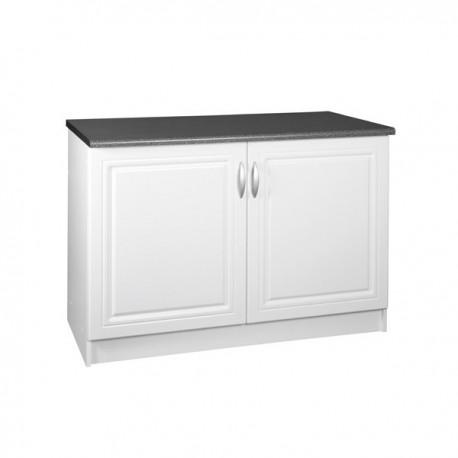 Meuble de cuisine bas 2 portes 120 cm DINA en mélaminé avec 1 étagère