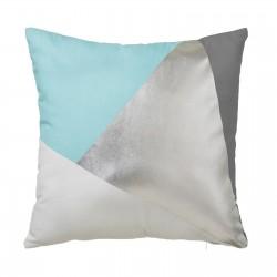 Coussin graphique bleu ciel en coton 45 x 45 cm