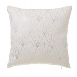 Coussin motifs argentés blanc écru 45 x 45 cm