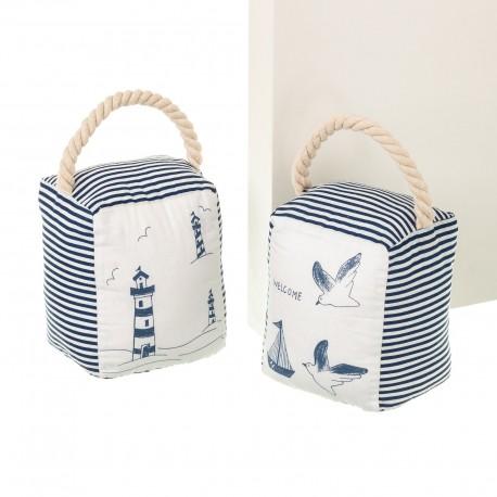Butoirs de porte sac marinière x 2 en tissu et sable 12 x 10 x 15 cm