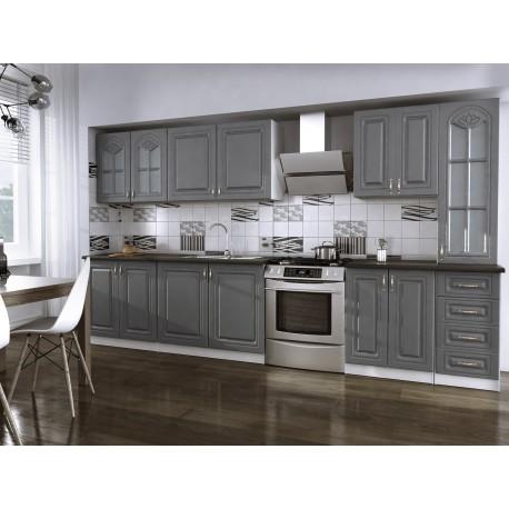 cuisine compl te 3m dina grise avec moulures moderne et. Black Bedroom Furniture Sets. Home Design Ideas