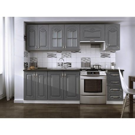 cuisine compl te 240cm dina grise avec moulures moderne et tendance. Black Bedroom Furniture Sets. Home Design Ideas