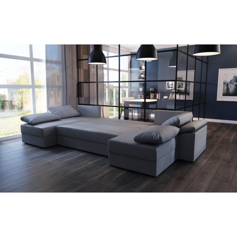 canap d 39 angle convertible panoramique dallas en u tissu gris design. Black Bedroom Furniture Sets. Home Design Ideas