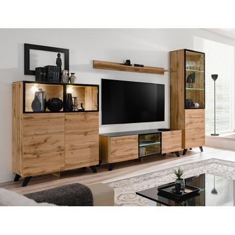 ensemble meuble tv thin style industriel noir et wotan. Black Bedroom Furniture Sets. Home Design Ideas
