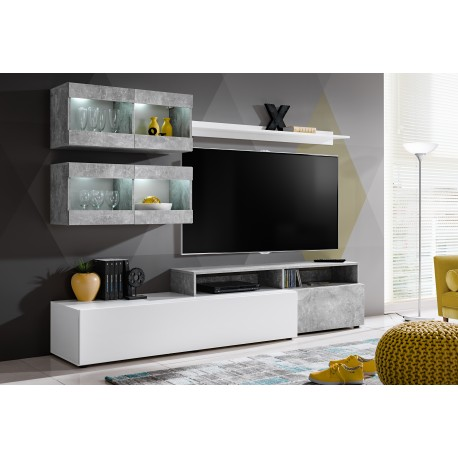 ensemble meuble tv light blanc et gris. Black Bedroom Furniture Sets. Home Design Ideas