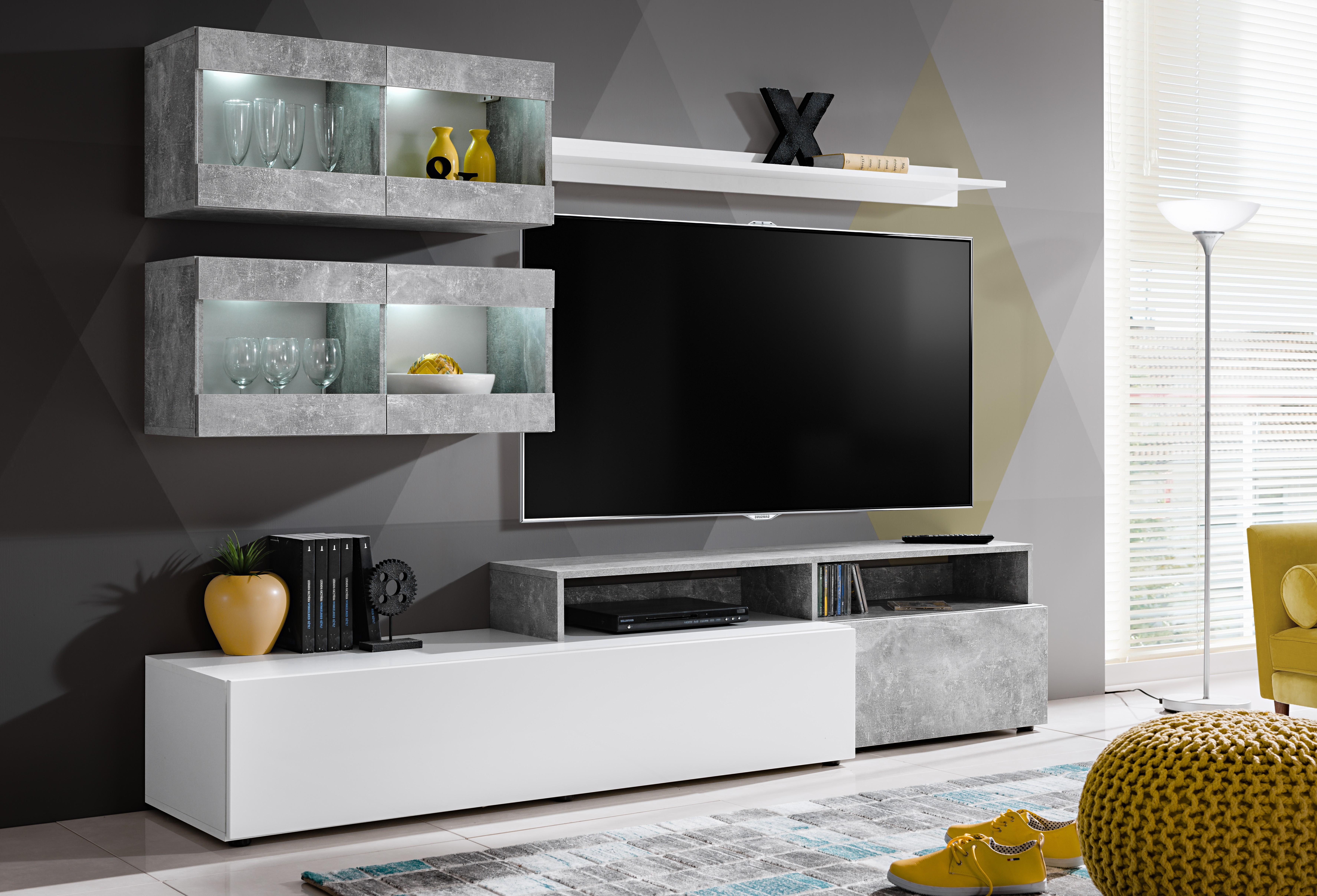 Panneau Mural Derriere Tv ensemble meuble tv light blanc et gris