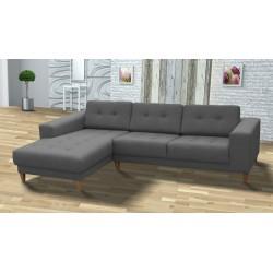 Canapé d'angle MUN style scandinave disponible en gris, rose, turquoise, bleu, noir