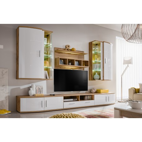Ensemble meuble TV JELLY blanc brillant et wotan