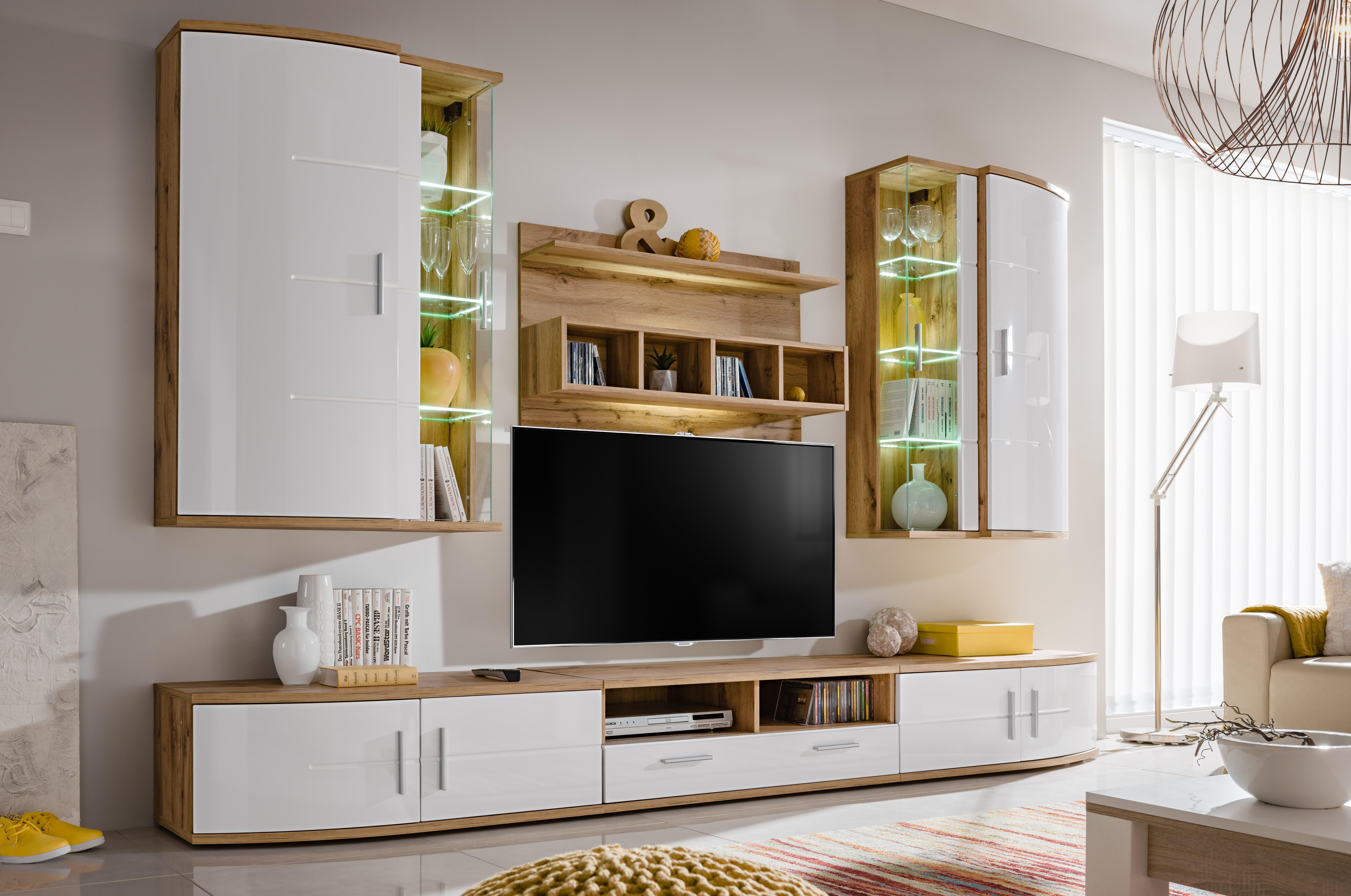 Panneau Mural Derriere Tv ensemble meuble tv jelly blanc brillant et wotan