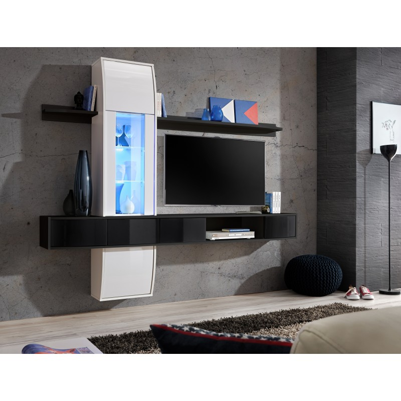 ensemble meuble tv comet ii noir et blanc. Black Bedroom Furniture Sets. Home Design Ideas
