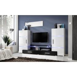 Ensemble meuble TV TOWER I blanc et noir