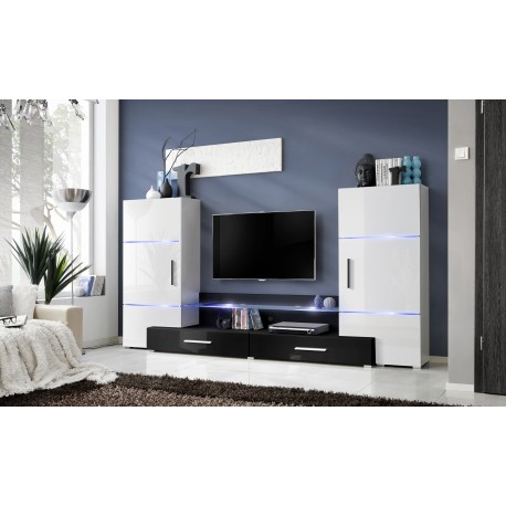 Ensemble meuble tv tower i blanc et noir - Chambre adulte noir et blanc ...