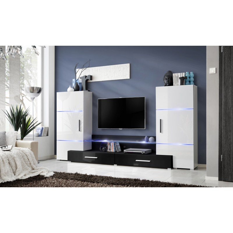ensemble meuble tv tower i blanc et noir. Black Bedroom Furniture Sets. Home Design Ideas
