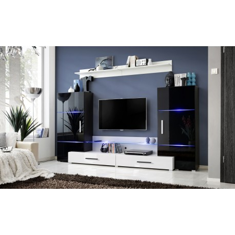 ensemble meuble tv tower ii noir et blanc. Black Bedroom Furniture Sets. Home Design Ideas