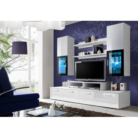 Ensemble meuble tv mini blanc et noir - Chambre adulte noir et blanc ...