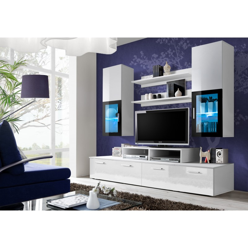 ensemble meuble tv mini blanc et noir. Black Bedroom Furniture Sets. Home Design Ideas