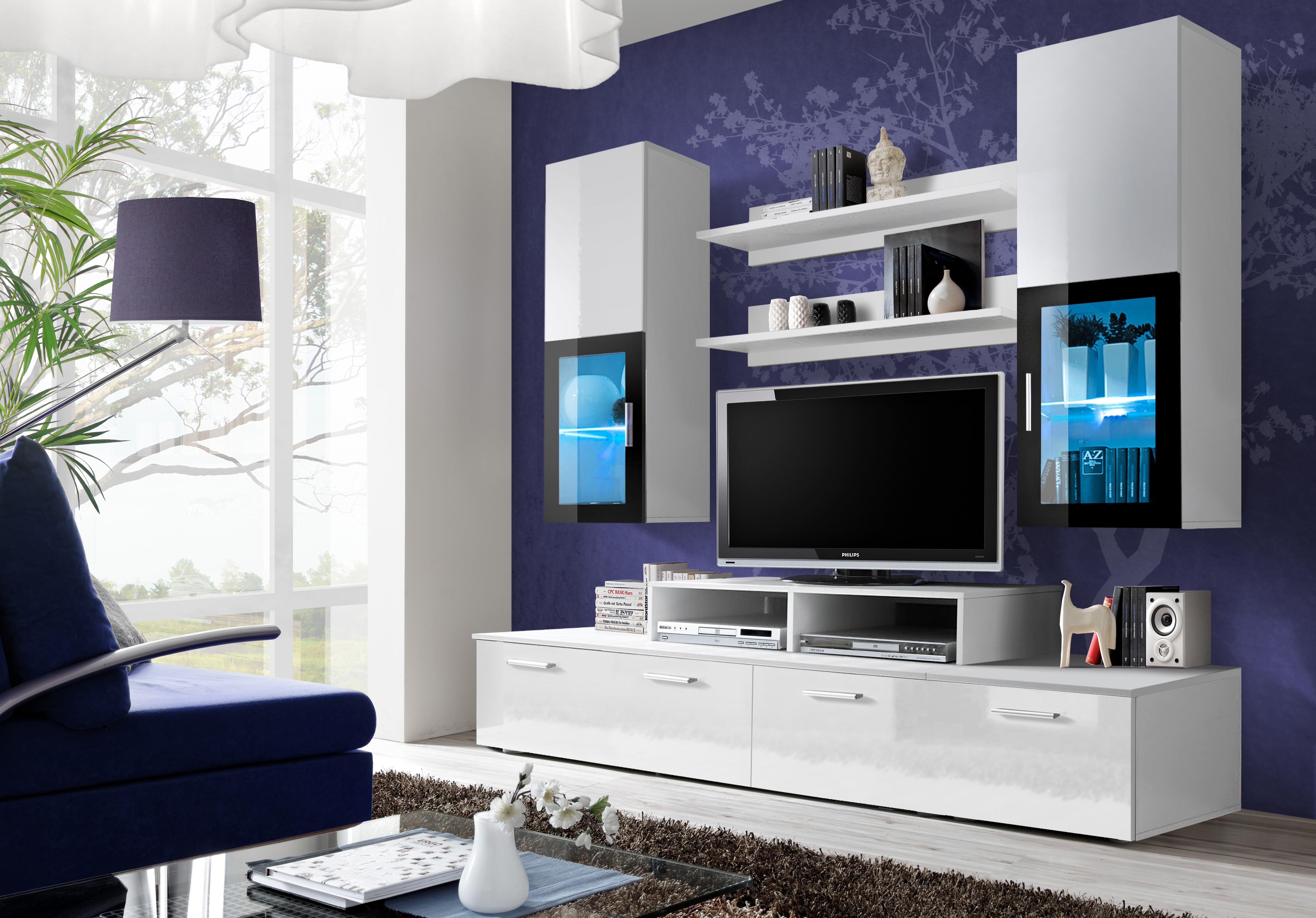 Panneau Mural Derriere Tv ensemble meuble tv mini blanc et noir