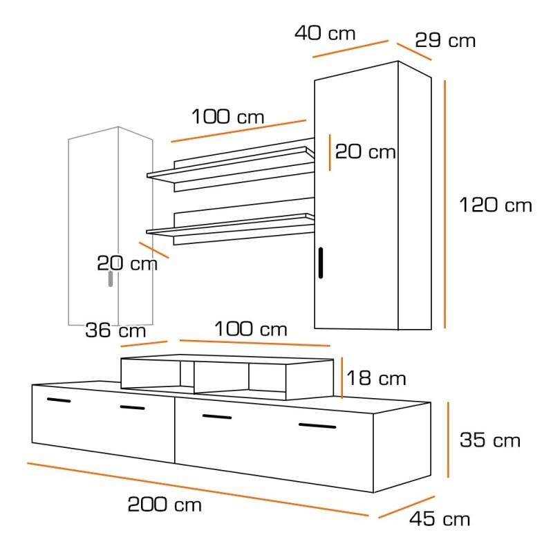 Ensemble meuble tv mini blanc et noir for Mini meuble tv