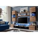 Ensemble meuble TV FRESH prunier et noir brillant