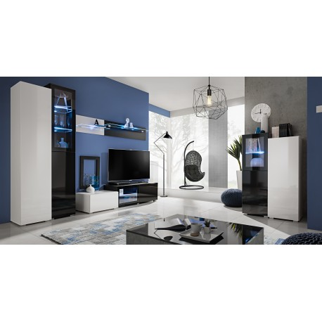 Ensemble meuble TV SKYLINE blanc et noir