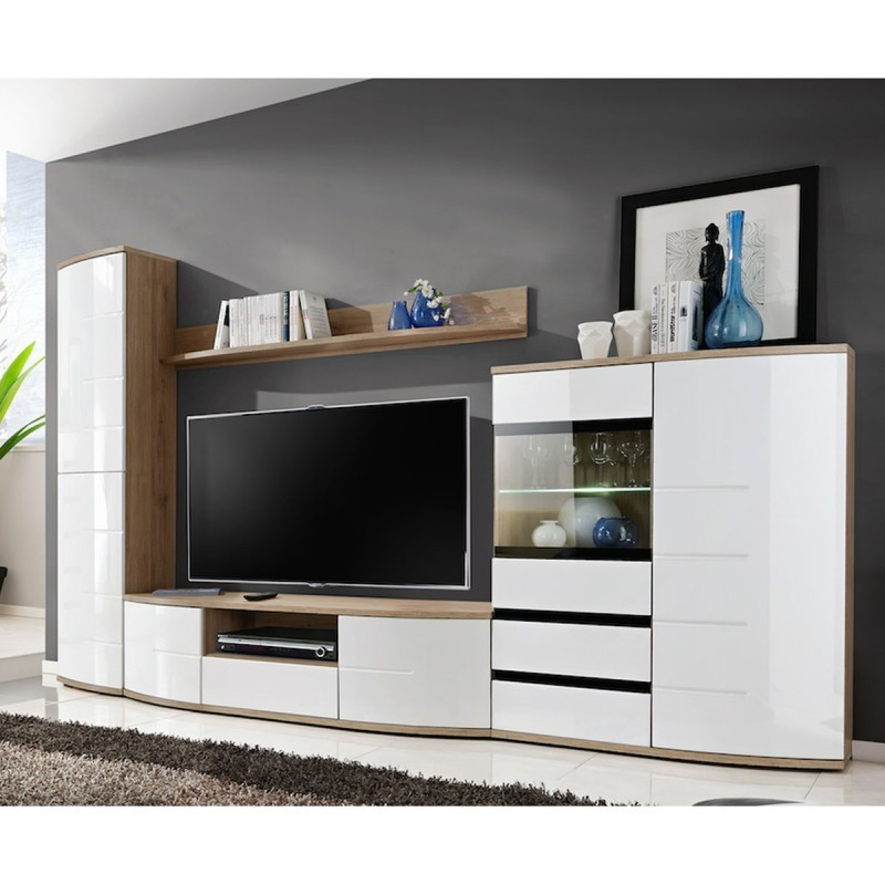 ensemble meuble tv ontario ch ne et blanc. Black Bedroom Furniture Sets. Home Design Ideas