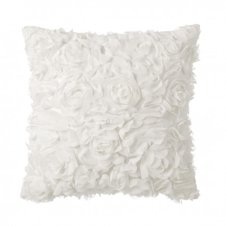 Coussin motifs roses ROSELYN crème 40 x 40 cm