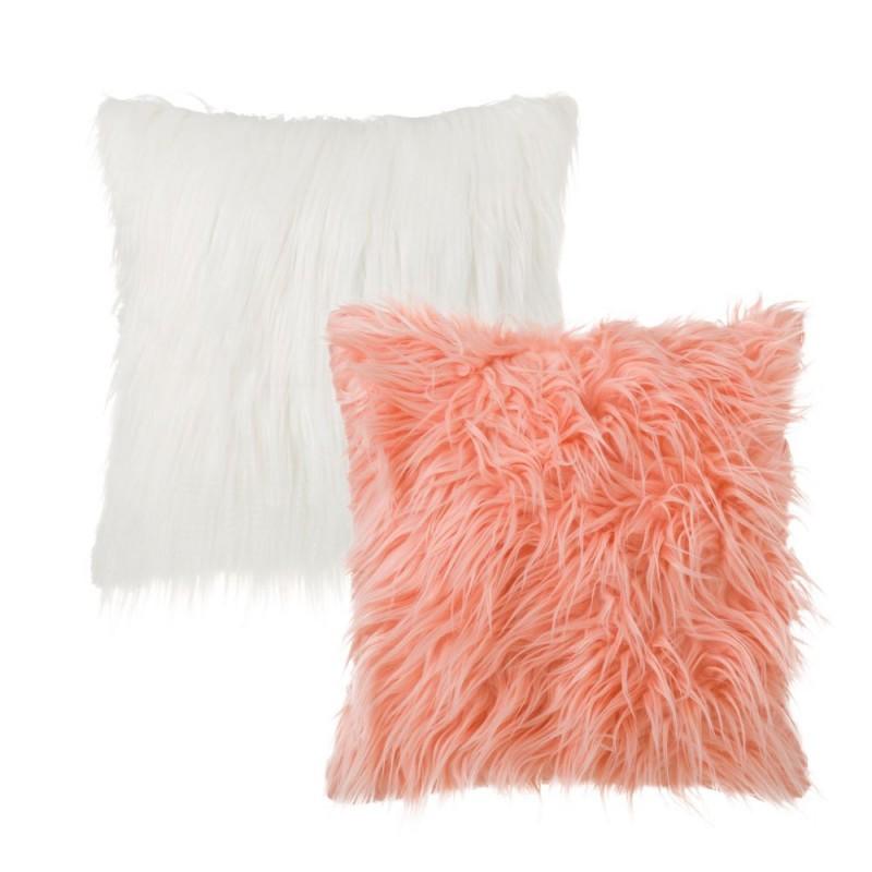 Lot de 2 coussins fourrure nordico rose et blanc 45 x 45 cm - Coussin fausse fourrure blanc ...