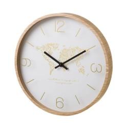 Horloge ronde MAPPEMONDE en MDF et cristal 33 x 33 x 4 cm