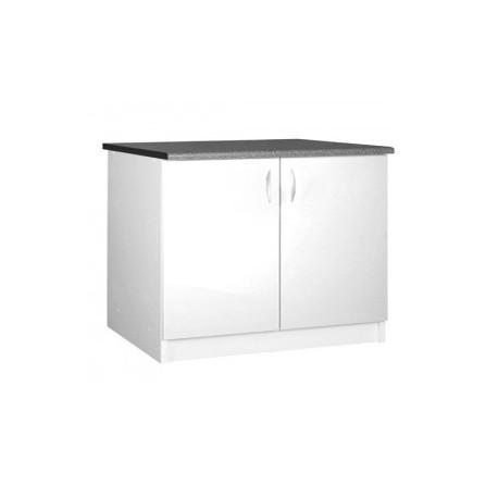 Meuble de cuisine bas 2 portes 120 cm OXANE laqué brillant avec 1 étagère