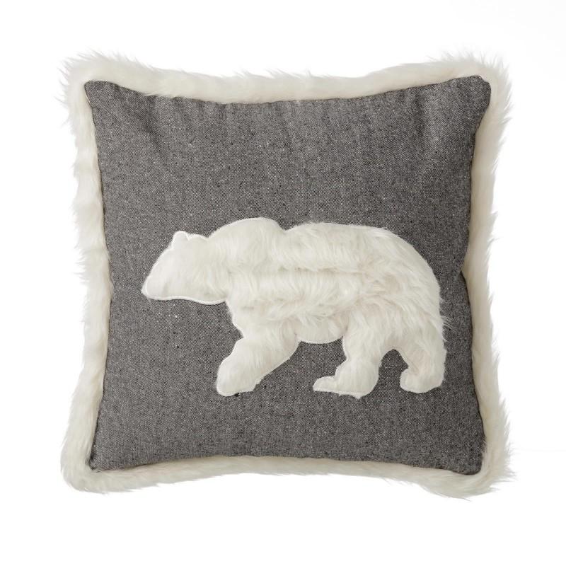 coussin polar bear gris 45 x 45 cm. Black Bedroom Furniture Sets. Home Design Ideas