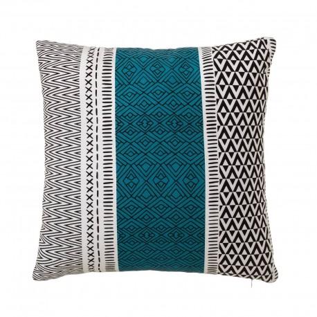Coussin motifs ethniques bleu turquoise 45 x 45 cm