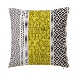 Coussin motifs ethniques jaune 45 x 45 cm