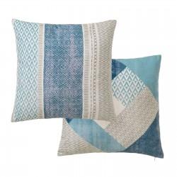 Lot de 2 coussins motifs ethniques bleu 45 x 45 cm