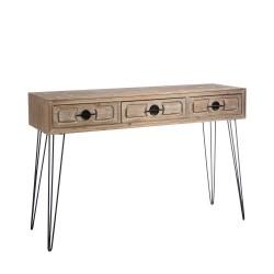 Console 3 tiroirs en bois et métal 120 x 37 x 79 cm