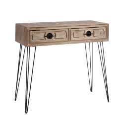 Console 2 tiroirs en bois et métal 87 x 37 x 79 cm